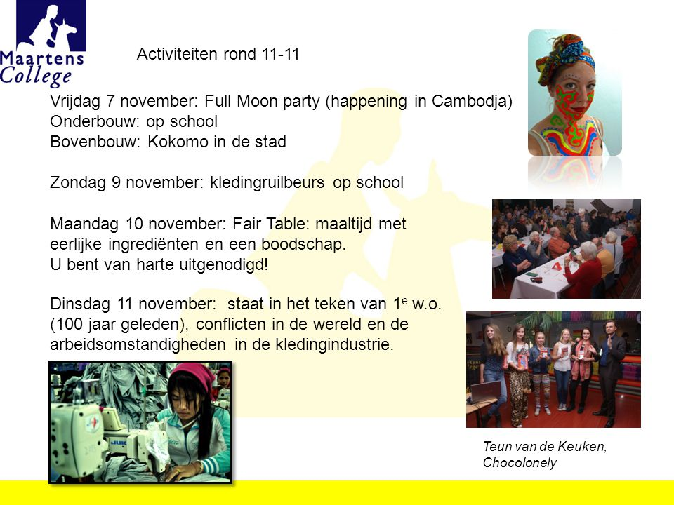 Vrijdag 7 november: Full Moon party (happening in Cambodja)
