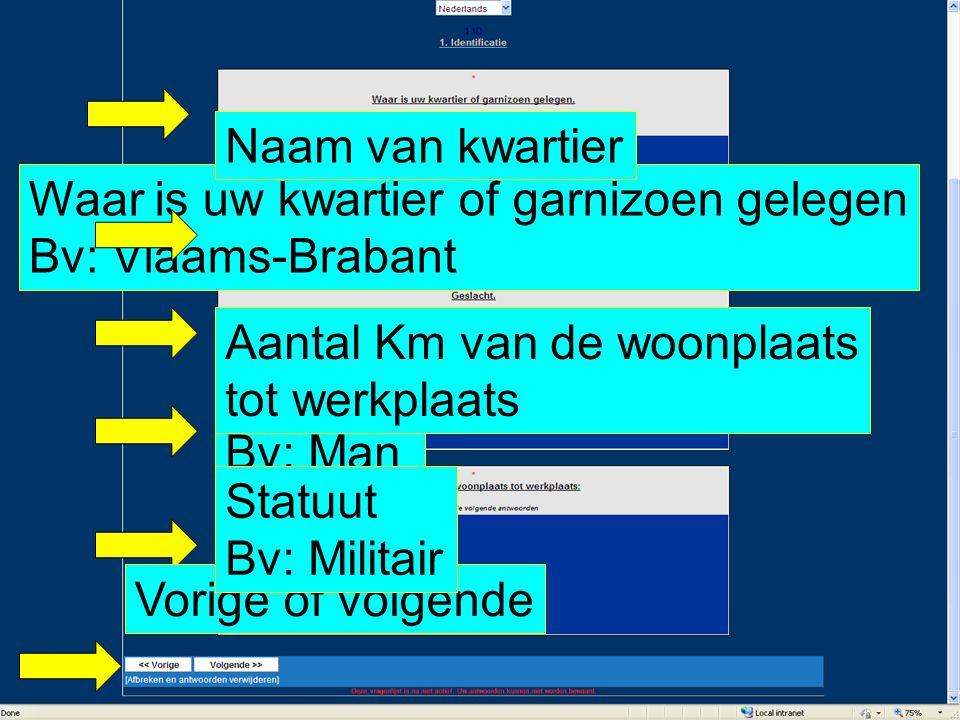 Naam van kwartier Waar is uw kwartier of garnizoen gelegen Bv: Vlaams-Brabant. Aantal Km van de woonplaats tot werkplaats.