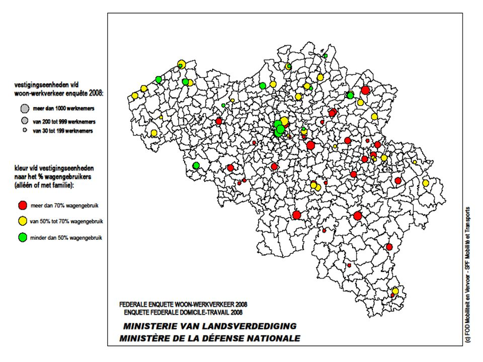 Overzicht wagengebruik woon-werkverkeer Pers Defensie uit resultaten 2008