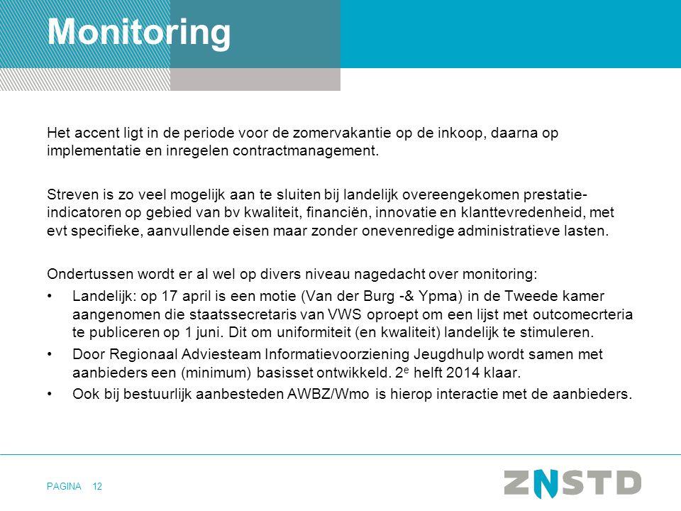 Monitoring Het accent ligt in de periode voor de zomervakantie op de inkoop, daarna op implementatie en inregelen contractmanagement.
