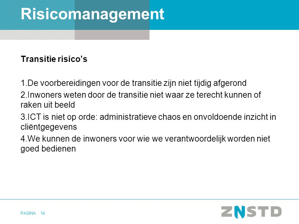 Risicomanagement Transitie risico's