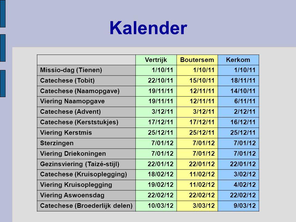 Kalender Vertrijk Boutersem Kerkom Missio-dag (Tienen) 1/10/11