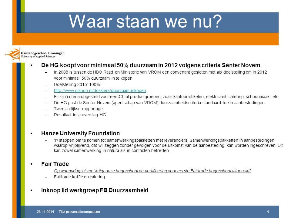 Waar staan we nu De HG koopt voor minimaal 50% duurzaam in 2012 volgens criteria Senter Novem.