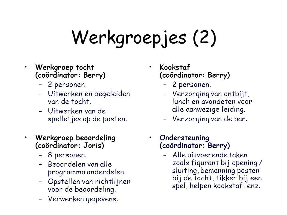 Werkgroepjes (2) Werkgroep tocht (coördinator: Berry) 2 personen