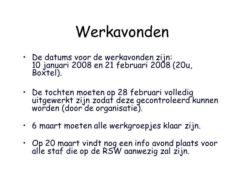 Werkavonden De datums voor de werkavonden zijn: 10 januari 2008 en 21 februari 2008 (20u, Boxtel).