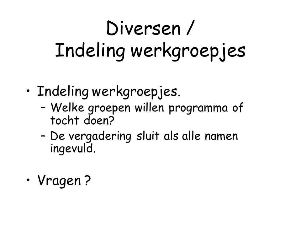 Diversen / Indeling werkgroepjes