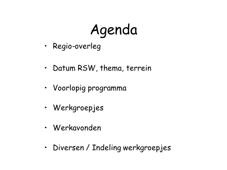 Agenda Regio-overleg Datum RSW, thema, terrein Voorlopig programma