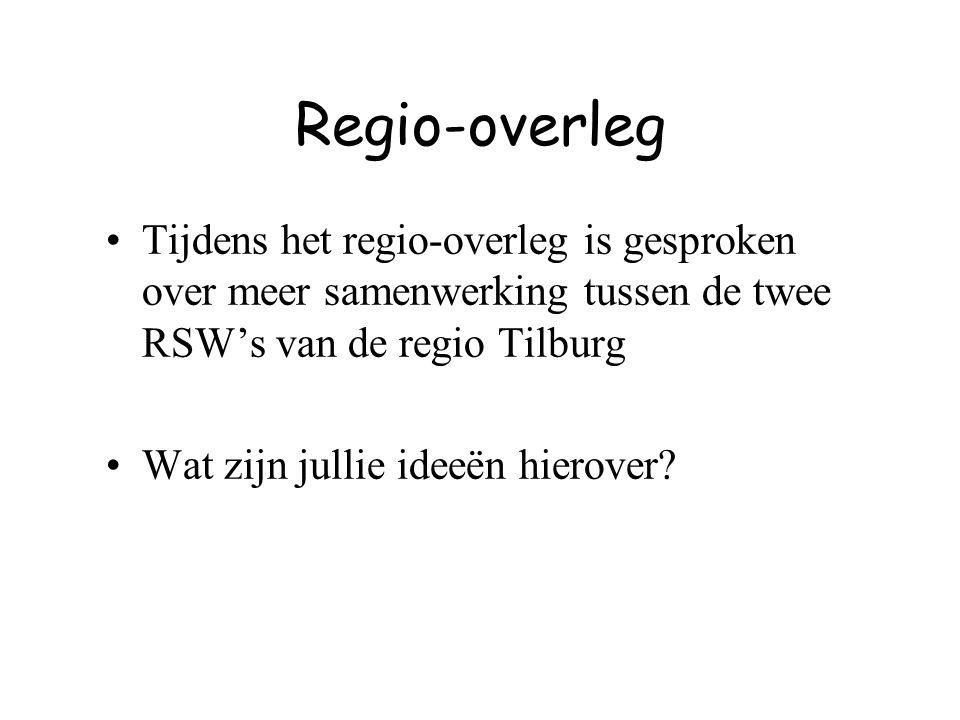 Regio-overleg Tijdens het regio-overleg is gesproken over meer samenwerking tussen de twee RSW's van de regio Tilburg.