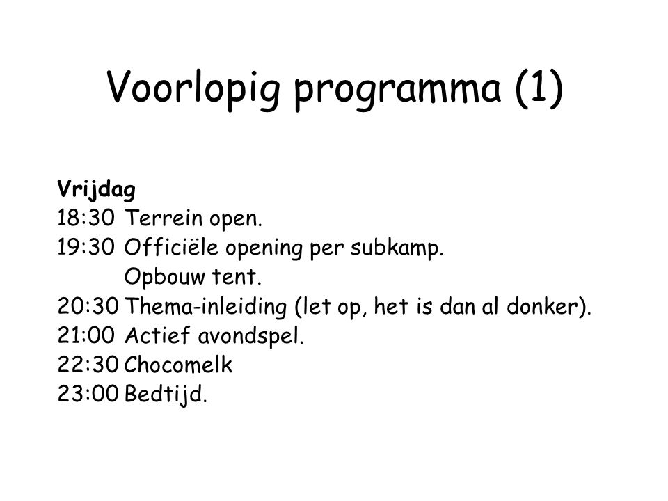 Voorlopig programma (1)
