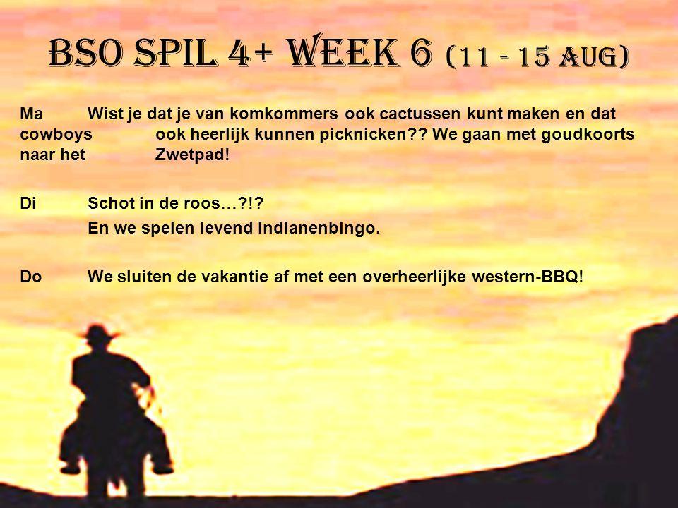 BSO Spil 4+ week 6 (11 - 15 aug)