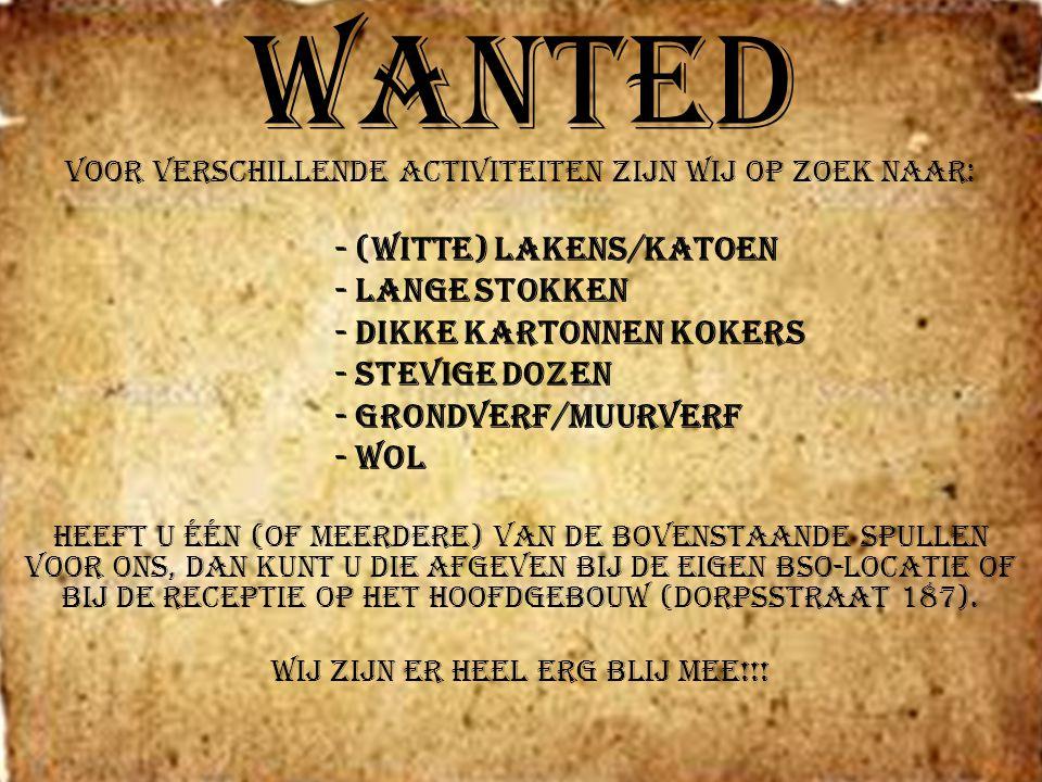 Wanted - lange stokken - dikke kartonnen kokers - stevige dozen
