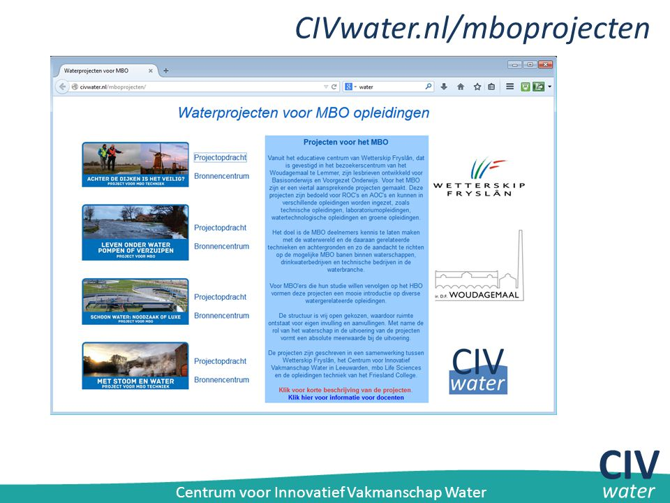 CIV CIVwater.nl/mboprojecten water