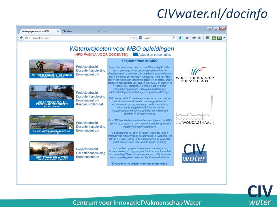 CIV CIVwater.nl/docinfo water
