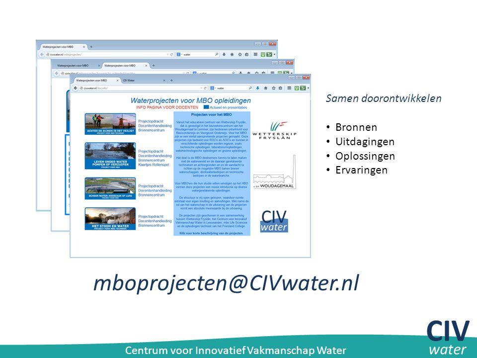 CIV mboprojecten@CIVwater.nl water Samen doorontwikkelen Bronnen