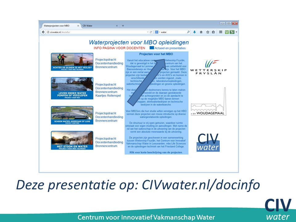 CIV Deze presentatie op: CIVwater.nl/docinfo water