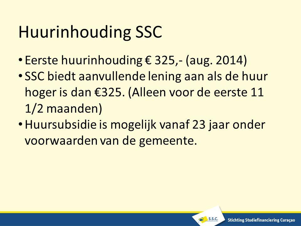 Huurinhouding SSC Eerste huurinhouding € 325,- (aug. 2014)