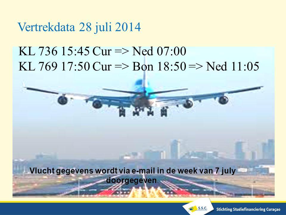 Vlucht gegevens wordt via e-mail in de week van 7 july doorgegeven.