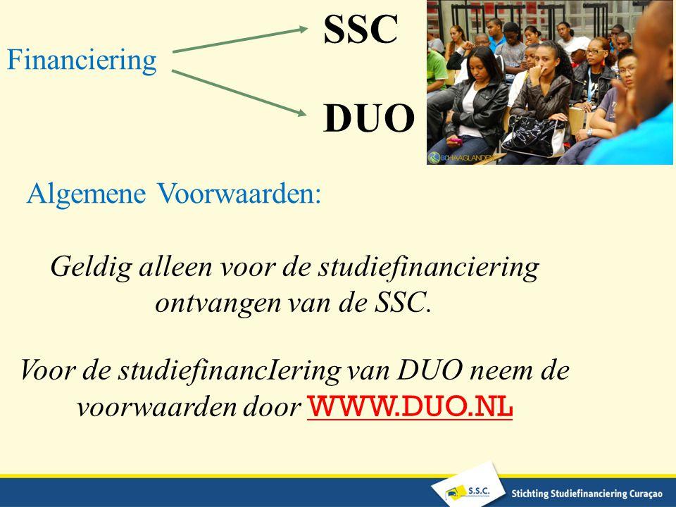 SSC DUO Financiering Algemene Voorwaarden: