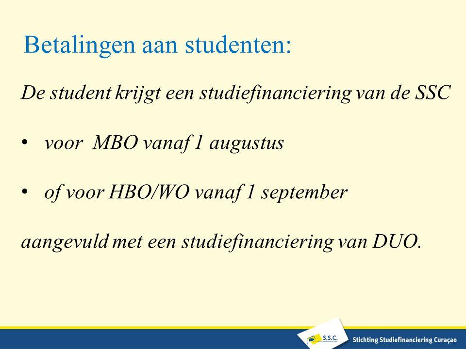 Betalingen aan studenten: