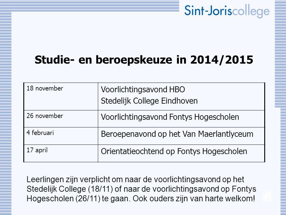 Studie- en beroepskeuze in 2014/2015