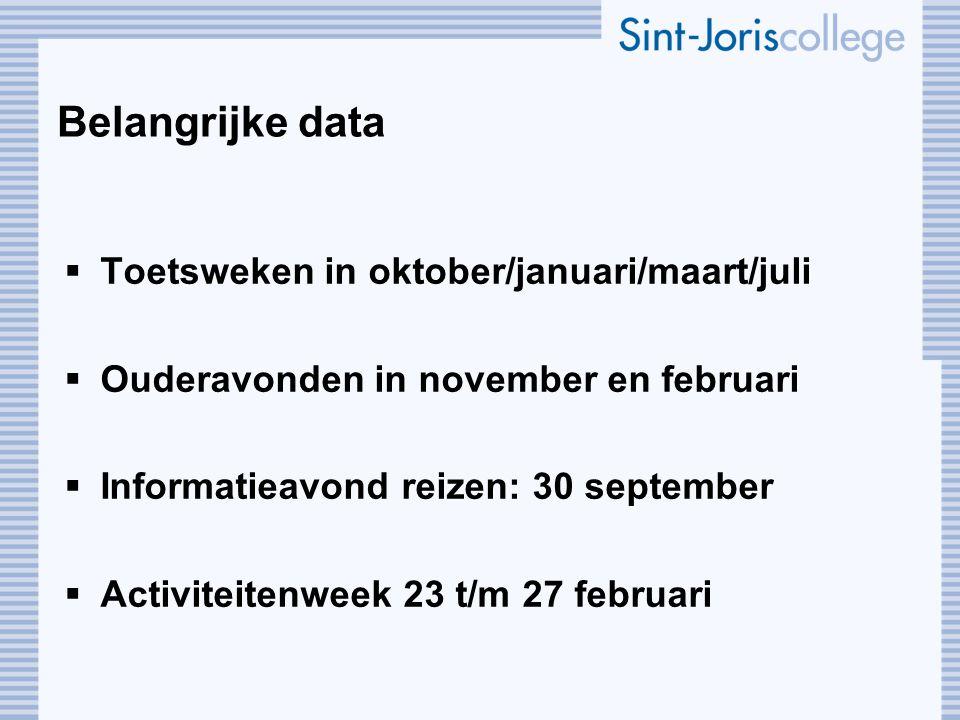 Belangrijke data Toetsweken in oktober/januari/maart/juli