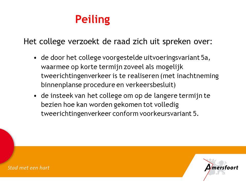 Peiling Het college verzoekt de raad zich uit spreken over: