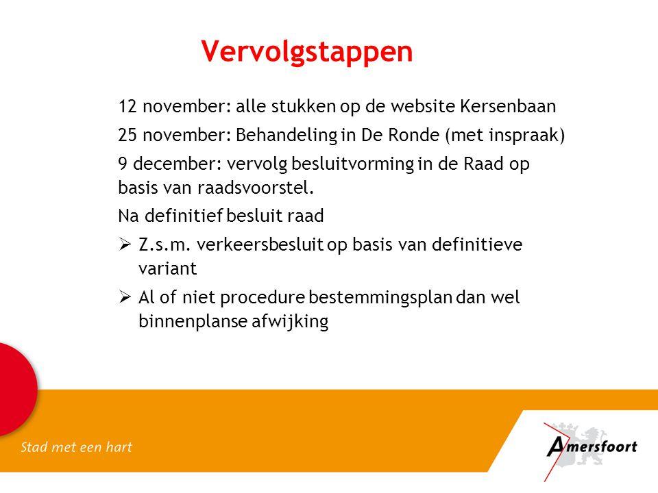 Vervolgstappen 12 november: alle stukken op de website Kersenbaan