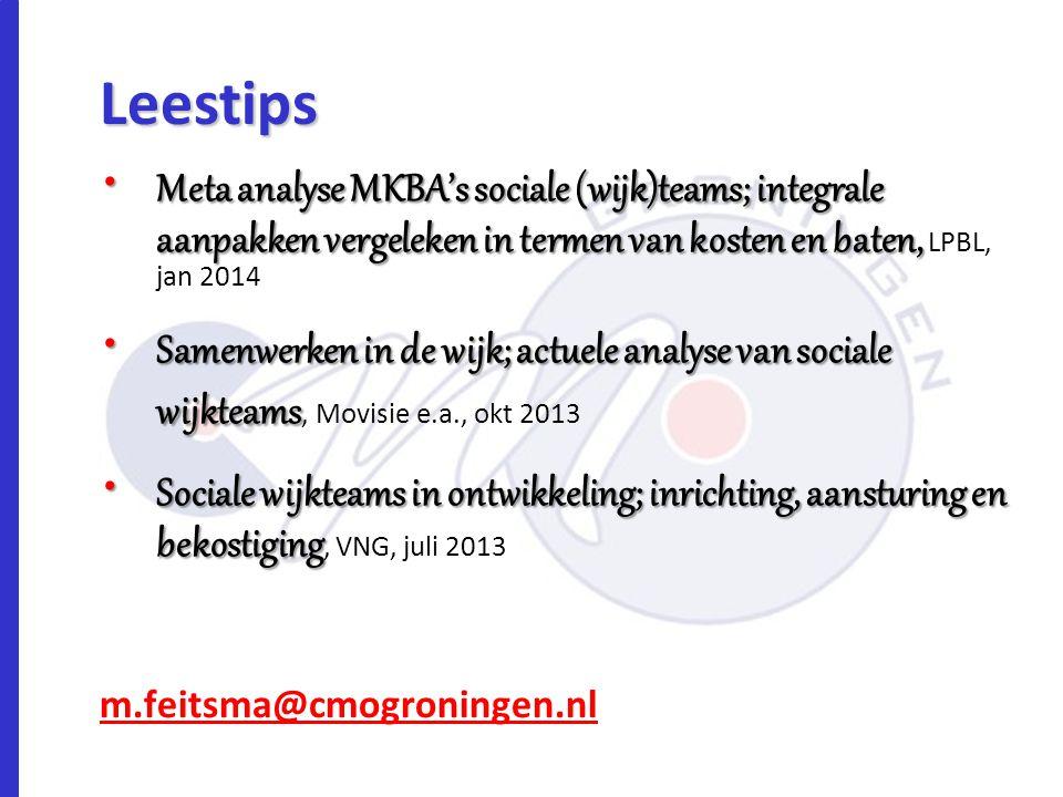 Leestips Meta analyse MKBA's sociale (wijk)teams; integrale aanpakken vergeleken in termen van kosten en baten, LPBL, jan 2014.