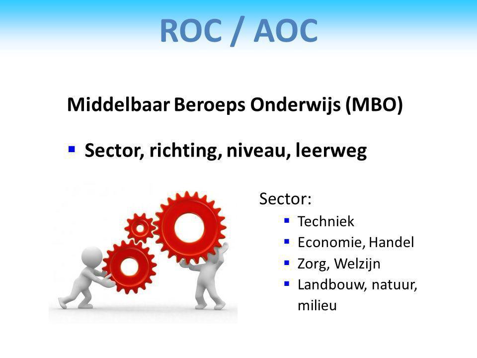 ROC / AOC Middelbaar Beroeps Onderwijs (MBO)
