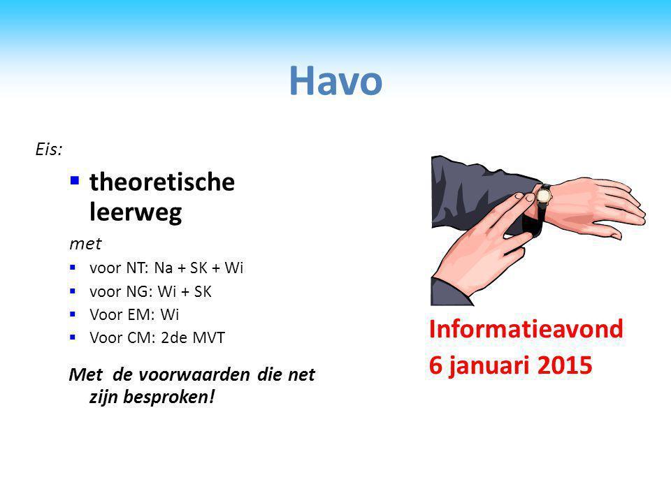 Havo theoretische leerweg Informatieavond 6 januari 2015 Eis: met