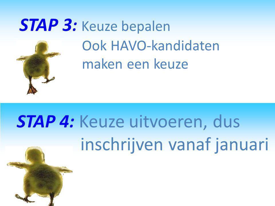 STAP 3: Keuze bepalen Ook HAVO-kandidaten maken een keuze
