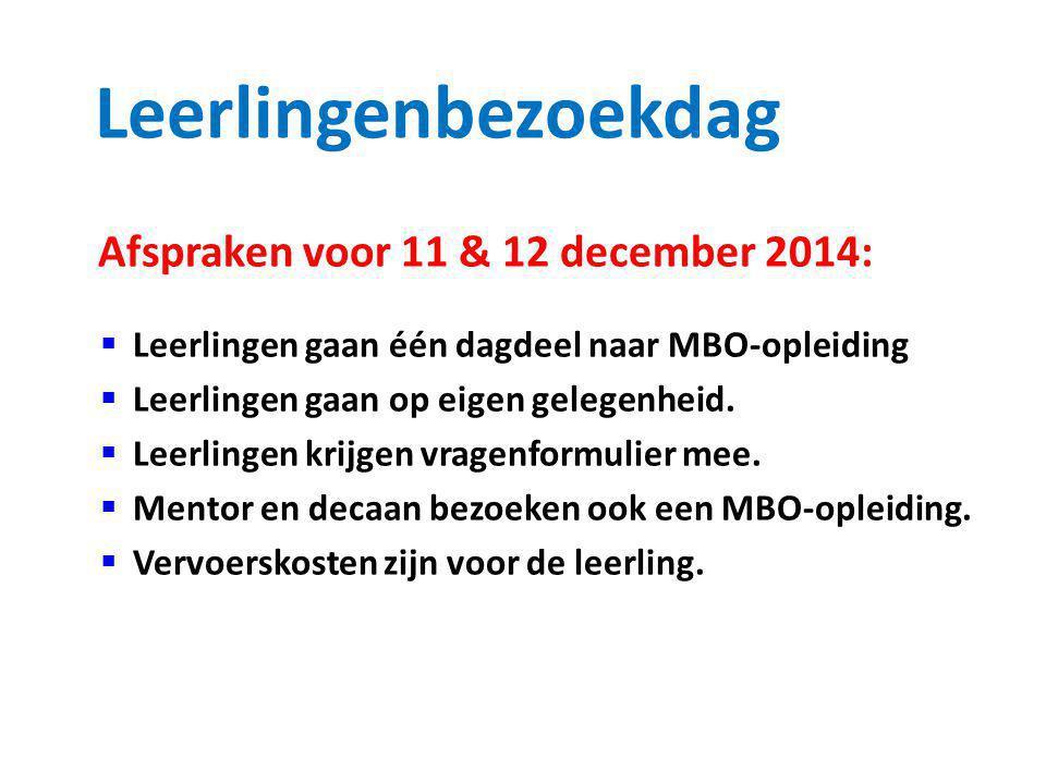Leerlingenbezoekdag Afspraken voor 11 & 12 december 2014: