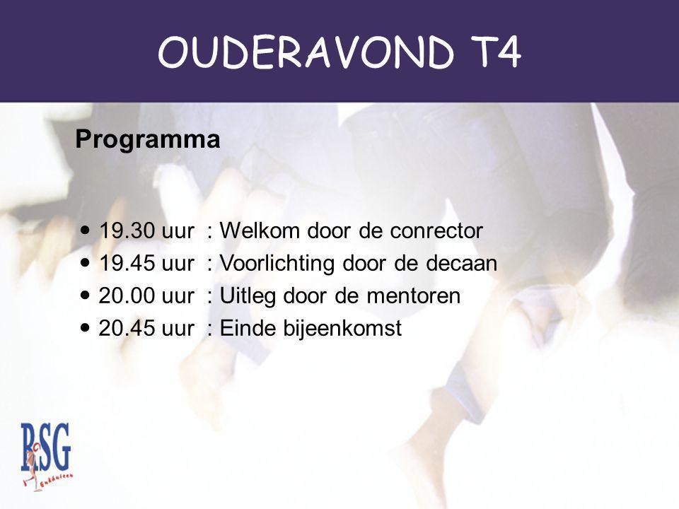 OUDERAVOND T4 Programma 19.30 uur : Welkom door de conrector