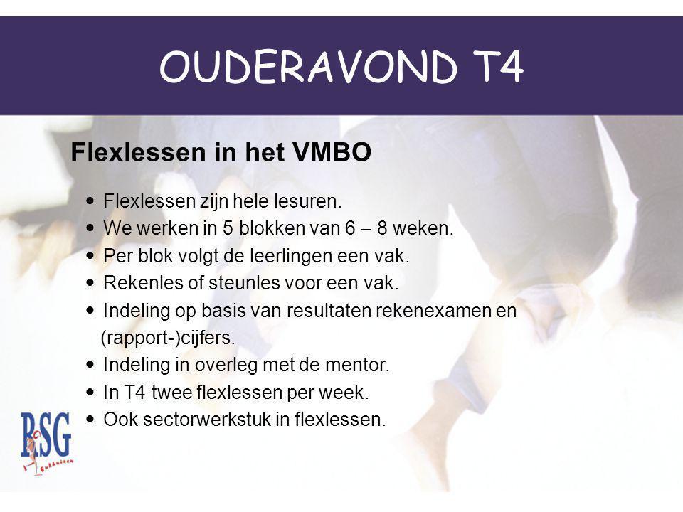 OUDERAVOND T4 Flexlessen in het VMBO Flexlessen zijn hele lesuren.