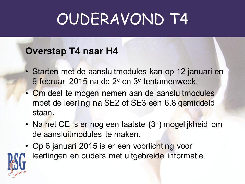 OUDERAVOND T4 Overstap T4 naar H4