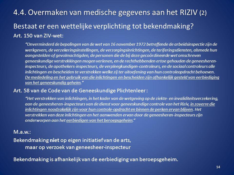 4.4. Overmaken van medische gegevens aan het RIZIV (2)