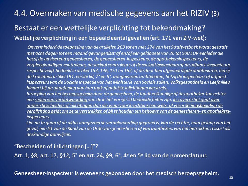 4.4. Overmaken van medische gegevens aan het RIZIV (3)