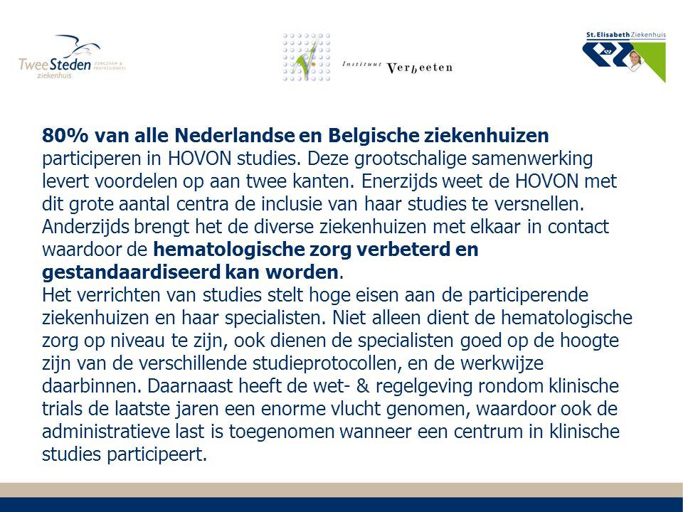 80% van alle Nederlandse en Belgische ziekenhuizen participeren in HOVON studies.