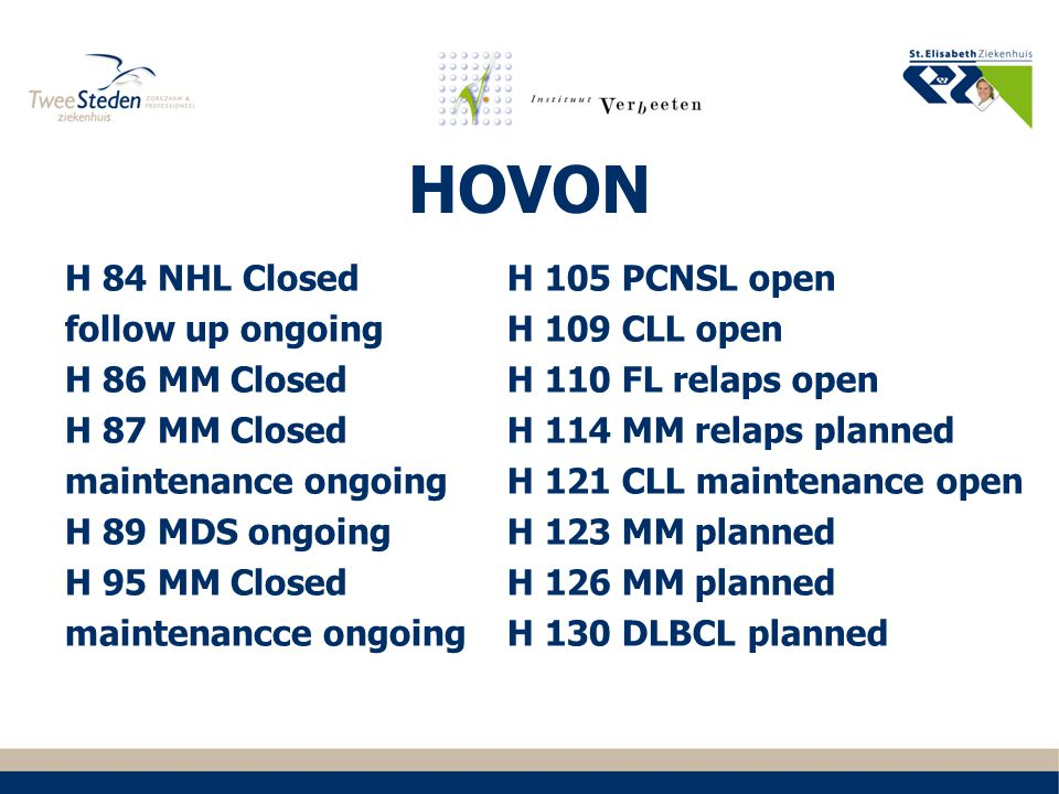 HOVON H 84 NHL Closed follow up ongoing H 86 MM Closed H 87 MM Closed