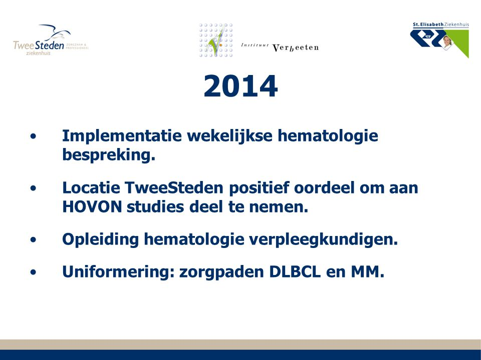 2014 Implementatie wekelijkse hematologie bespreking.
