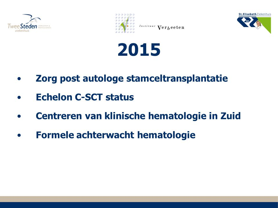 2015 Zorg post autologe stamceltransplantatie Echelon C-SCT status