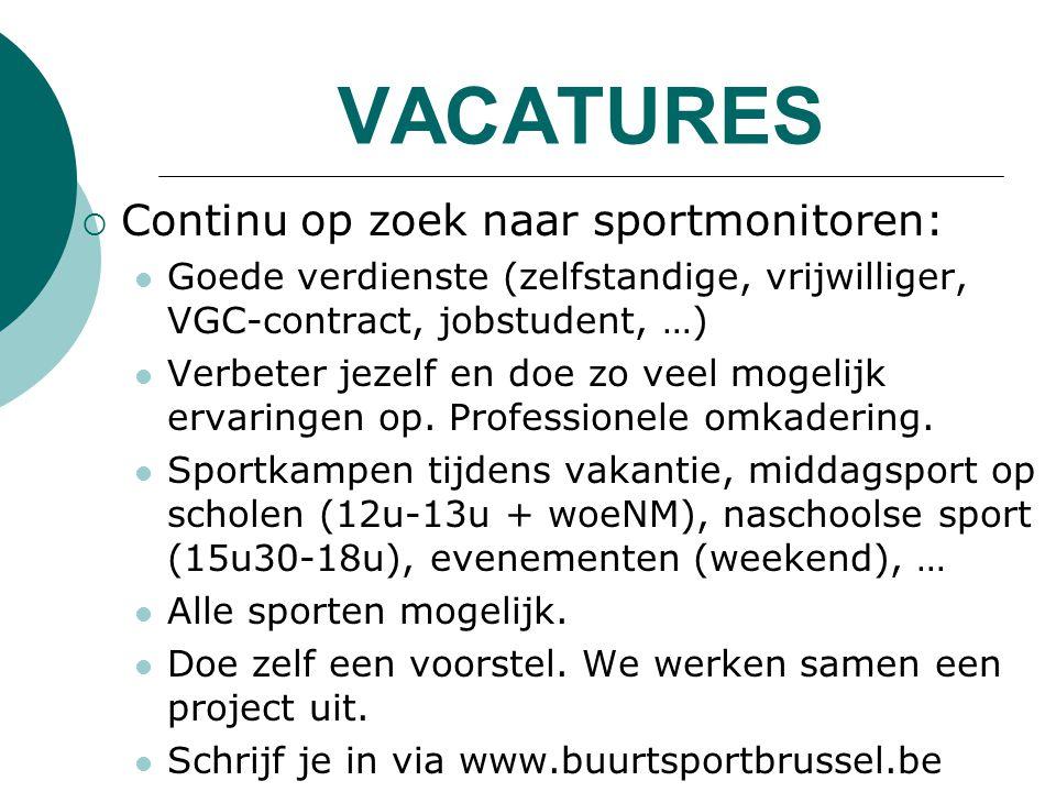 VACATURES Continu op zoek naar sportmonitoren: