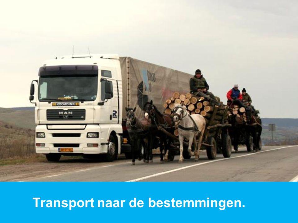 Transport naar de bestemmingen.