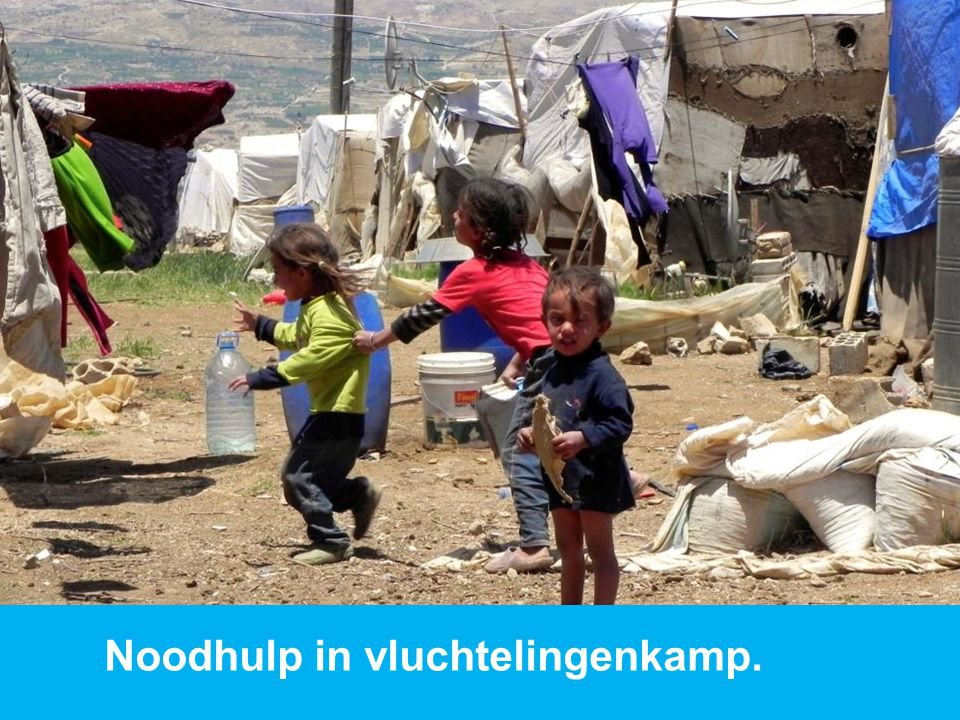 Noodhulp in vluchtelingenkamp.
