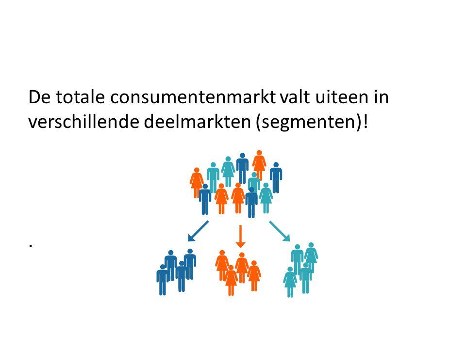 De totale consumentenmarkt valt uiteen in verschillende deelmarkten (segmenten)!