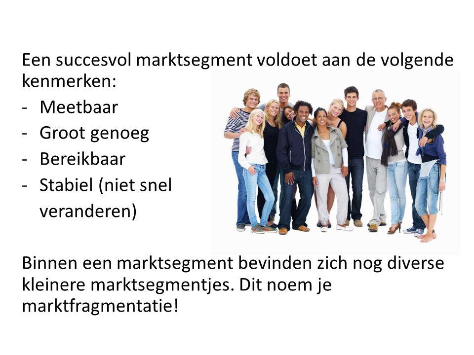 Een succesvol marktsegment voldoet aan de volgende kenmerken: