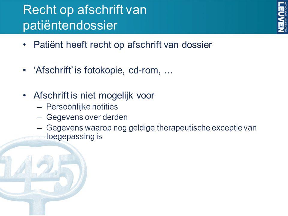 Recht op afschrift van patiëntendossier