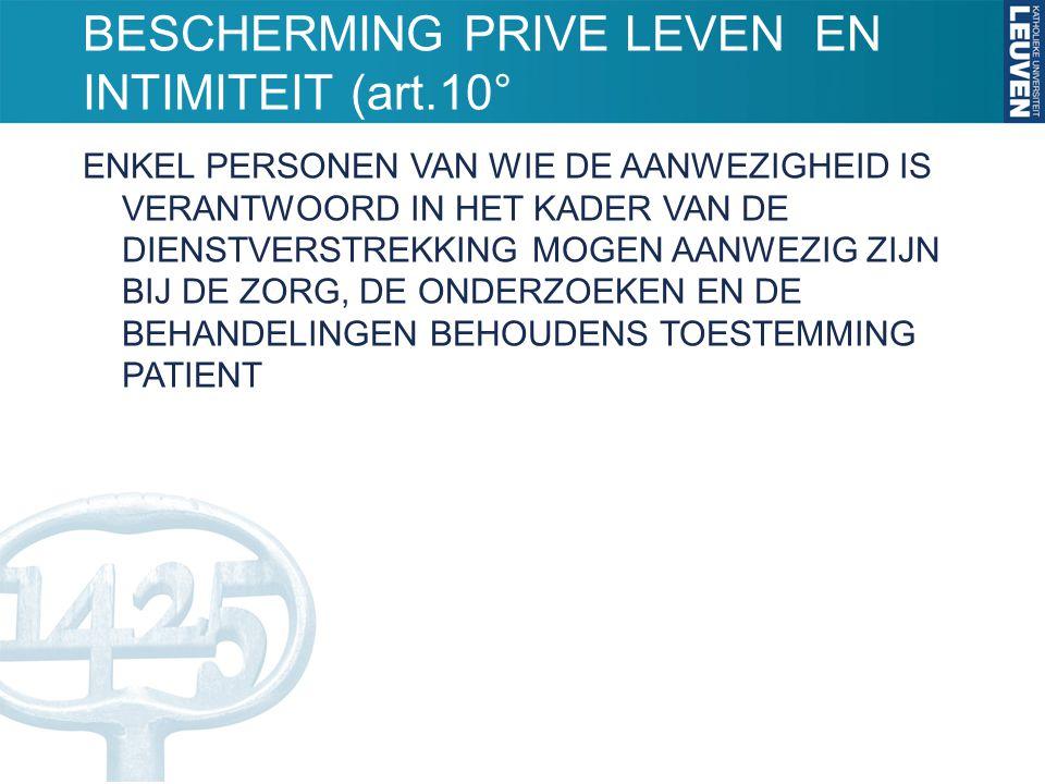 BESCHERMING PRIVE LEVEN EN INTIMITEIT (art.10°