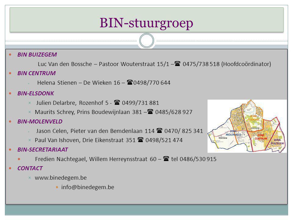 BIN-stuurgroep BIN BUIZEGEM BIN CENTRUM BIN-ELSDONK