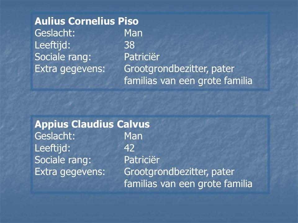 Aulius Cornelius Piso Geslacht: Man. Leeftijd: 38. Sociale rang: Patriciër.